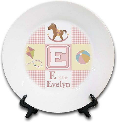 "8"" 'Personalised ABC is for Babies' Novelty Ceramic Plate & Stand - Pink"